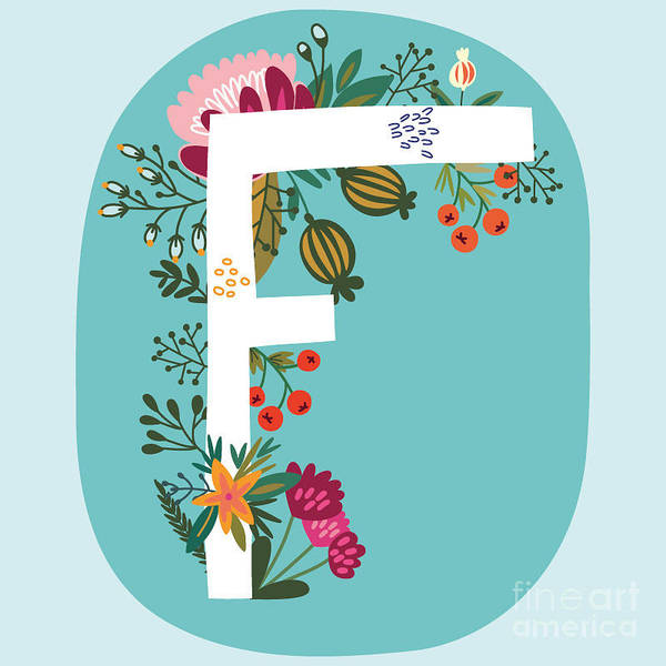 Wall Art - Photograph - Vector Hand Drawn Floral Monogram With by Marushabelle