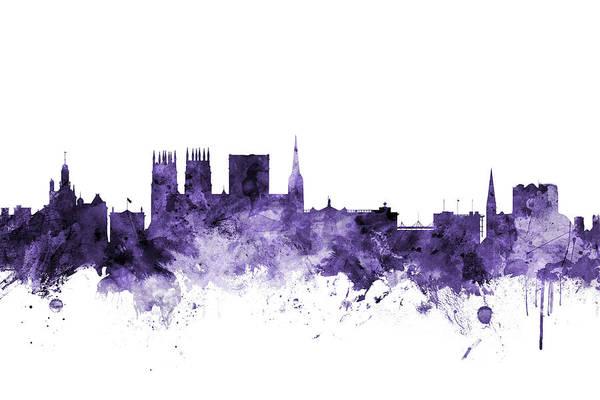 Wall Art - Digital Art - York England Skyline by Michael Tompsett