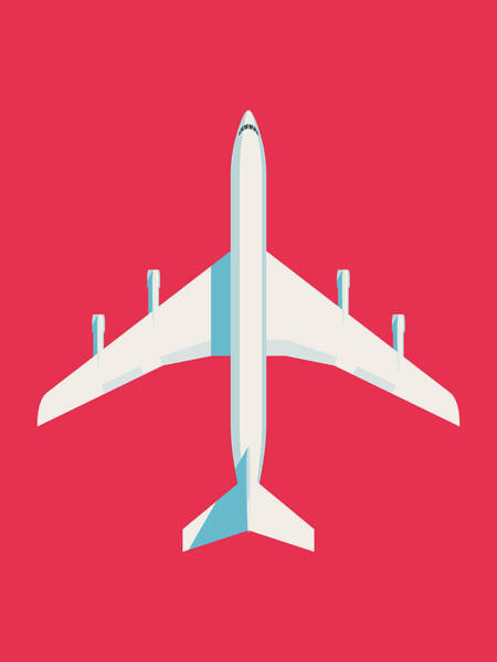 Airplane Digital Art - 707 Passenger Jet Airliner Aircraft - Crimson by Ivan Krpan