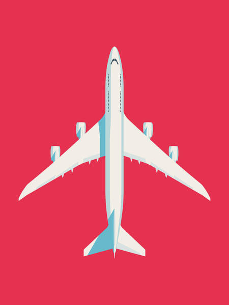 Wall Art - Digital Art - 747-8 Jumbo Jet Airliner Aircraft - Crimson by Ivan Krpan
