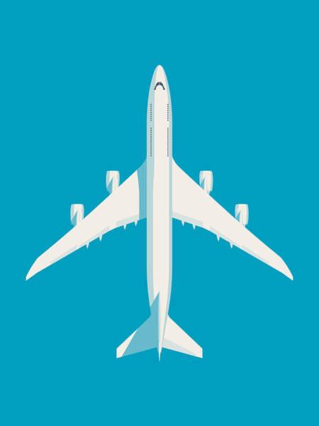 Wall Art - Digital Art - 747-8 Jumbo Jet Airliner Aircraft - Cyan by Ivan Krpan
