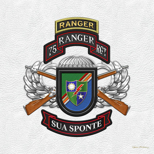 Digital Art - 75th Ranger Regiment - Army Rangers Special Edition Over White Leather by Serge Averbukh