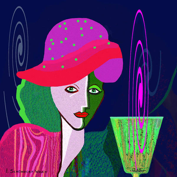 Wall Art - Painting -  768   Lady With Green Drink   by Irmgard Schoendorf Welch