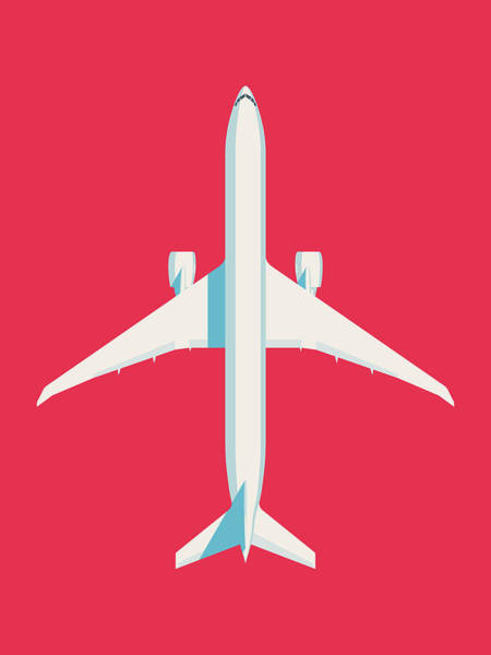 Wall Art - Digital Art - 777 Passenger Jet Airliner - Crimsino by Ivan Krpan