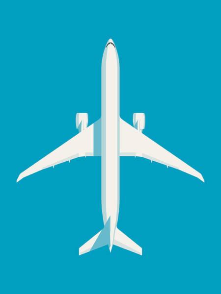 Wall Art - Digital Art - 777 Passenger Jet Airliner - Cyan by Ivan Krpan