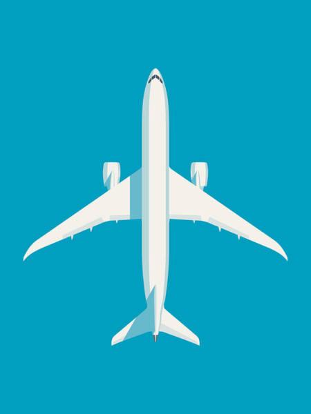 Wall Art - Digital Art - 787 Passenger Jet Airliner Aircraft - Cyan by Ivan Krpan