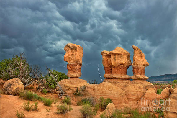 Photograph - Lightning In Devils Garden Escalante Grand Staircase Utah by Dave Welling