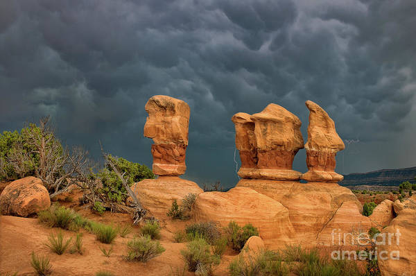 Photograph - Lightning Over Four Trolls Devils Garden Escalante Grand Staircase Utah by Dave Welling