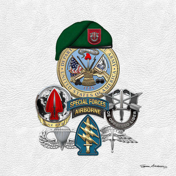 Special Forces Wall Art - Digital Art - 7th Special Forces Group - Green Berets Special Edition by Serge Averbukh