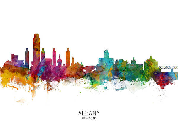 Wall Art - Digital Art - Albany New York Skyline by Michael Tompsett