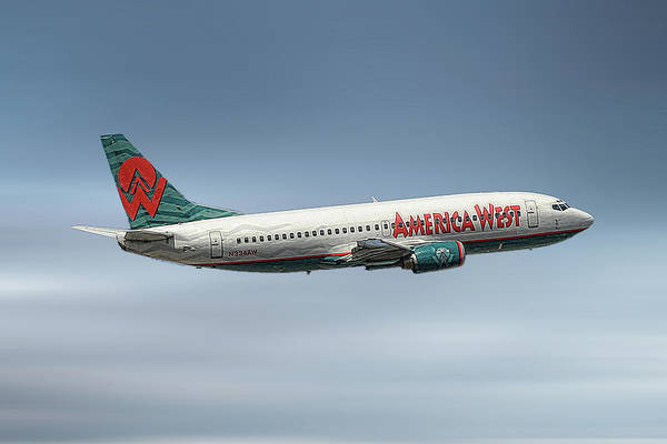 Wall Art - Mixed Media - America West Boeing 737-300 by Smart Aviation