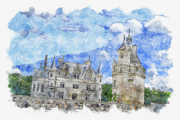 Chs Digital Art - Architecture #watercolor #sketch #architecture #castle by TintoDesigns