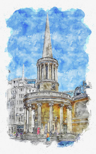 Wall Art - Digital Art - Architecture #watercolor #sketch #architecture #church by TintoDesigns