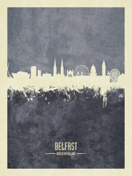 Wall Art - Digital Art - Belfast Northern Ireland Skyline by Michael Tompsett