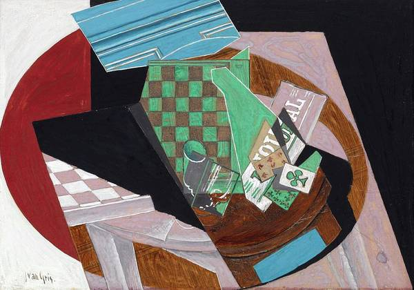 Wall Art - Painting - Checkerboard And Playing Cards, Circa 1915 by Juan Gris