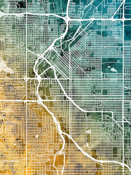 Digital Art - Denver Colorado Street Map by Michael Tompsett