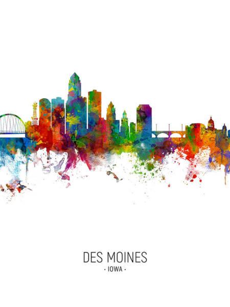 Digital Art - Des Moines Iowa Skyline by Michael Tompsett