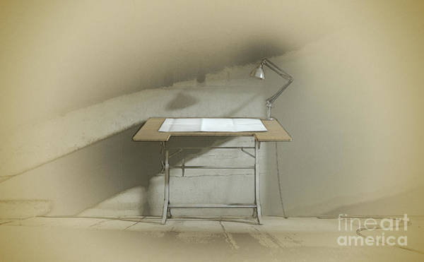 Wall Art - Digital Art - Drafting Desk Lamp And Paper by Allan Swart