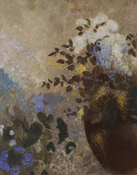 Wall Art - Painting - Flowers In A Black Vase  by Odilon Redon