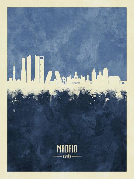 Spain Digital Art - Madrid Spain Skyline by Michael Tompsett
