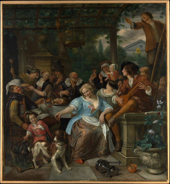 Painting - Merry Company On A Terrace by Jan Steen