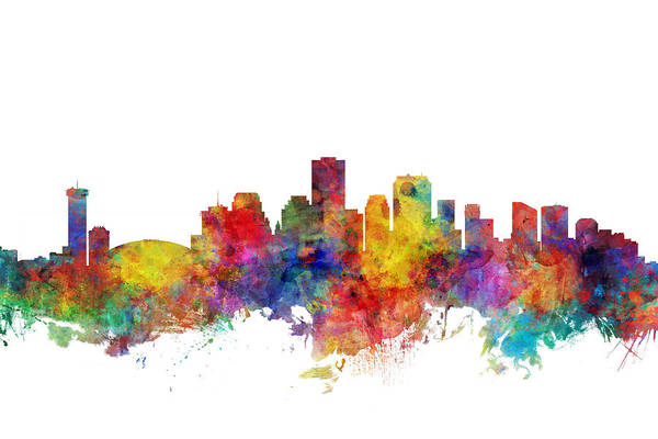 Louisiana Digital Art - New Orleans Louisiana Skyline by Michael Tompsett