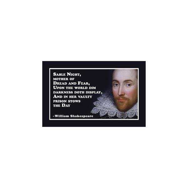 Wall Art - Digital Art - Sable Night #shakespeare #shakespearequote by TintoDesigns