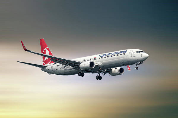 Turkish Mixed Media - Turkish Airlines Boeing 737-9f2 by Smart Aviation