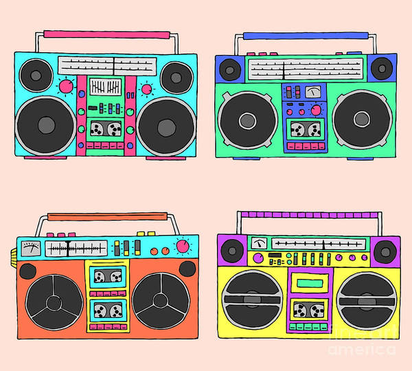 Hops Wall Art - Digital Art - 80s Boomboxes by Victoria Pineapple