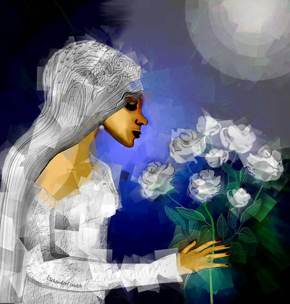 Wall Art - Digital Art - 827 A - Lady With White Roses by Irmgard Schoendorf Welch