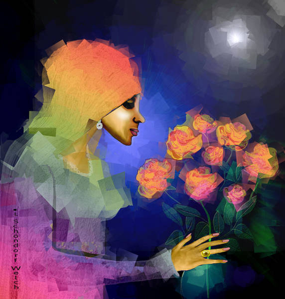 Wall Art - Digital Art - 827 C - Lady With Pink  Roses by Irmgard Schoendorf Welch
