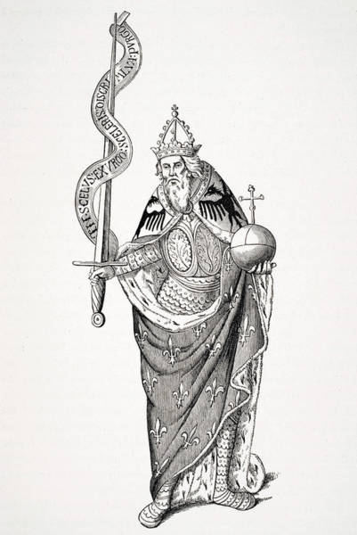 Wall Art - Drawing - The Emperor Charlemagne by Ken Welsh