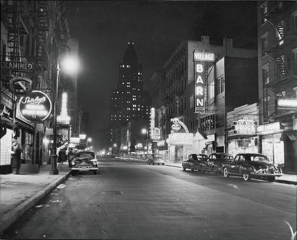 Night Photograph - 8th Street At Night, 1950 by Fred W. McDarrah