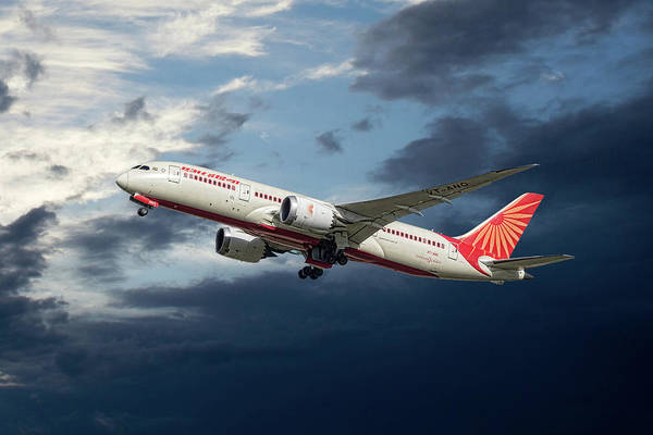 Wall Art - Mixed Media - Air India Boeing 787-8 Dreamliner by Smart Aviation