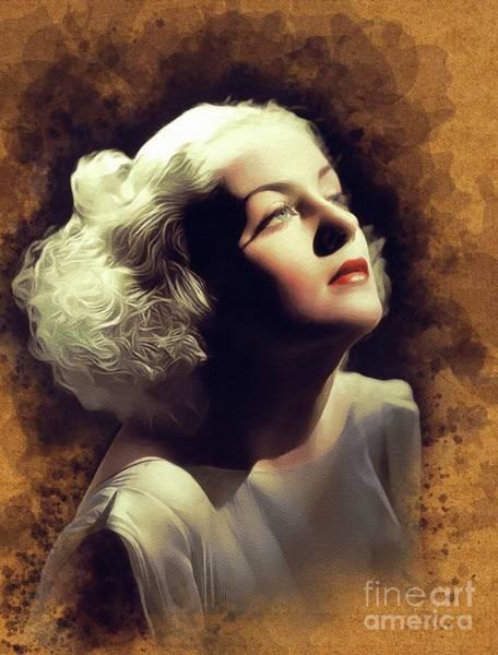 Wall Art - Painting - Carole Lombard, Vintage Movie Star by John Springfield