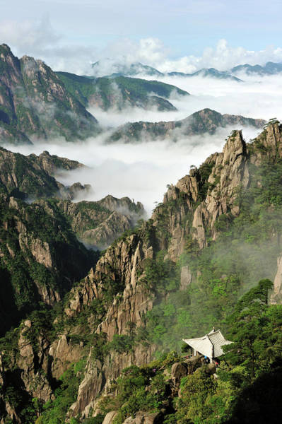 Chinese Pavilion Photograph - China, Anhui Province, Huangshan by Mattes René / Hemis.fr