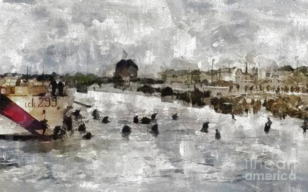 Wall Art - Painting - D Day Landings, Wwii by Mary Bassett