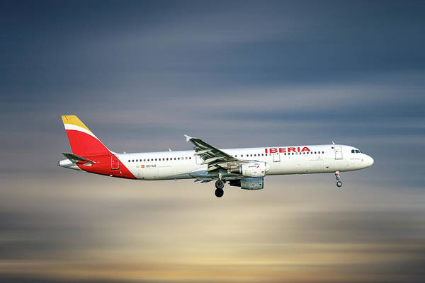 Wall Art - Mixed Media - Iberia Airbus A321-212 by Smart Aviation