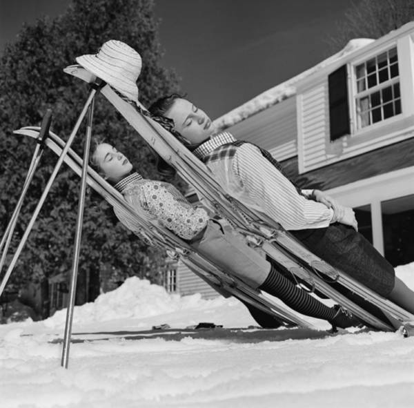 Hat Photograph - New England Skiing by Slim Aarons