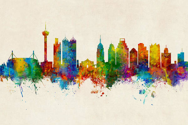 Wall Art - Digital Art - San Antonio Texas Skyline by Michael Tompsett