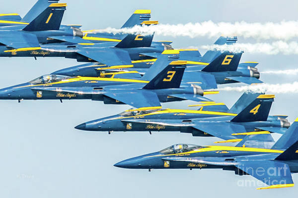 Wall Art - Photograph - The Best Of The Best In Tight Formation The Blue Angels by Rene Triay Photography