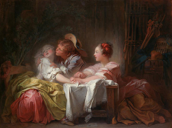 Wall Art - Painting - The Stolen Kiss by Jean-Honore Fragonard