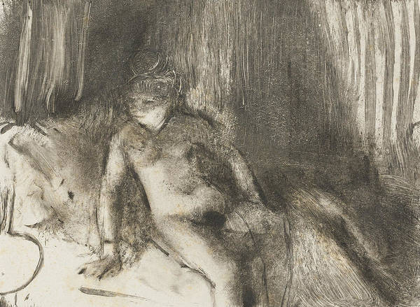 Relief - Waiting by Edgar Degas