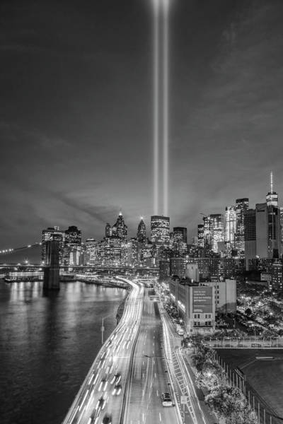 Photograph - 911 Tribute In Light In Nyc II Bw by Susan Candelario