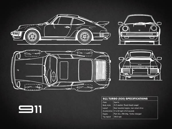 Wall Art - Photograph - 911 Turbo Blueprint - Black by Mark Rogan