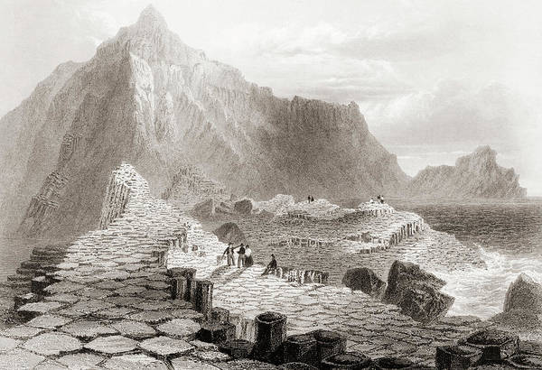 Wall Art - Drawing - Scene On The Giant's Causeway, County Antrim, Ireland by Ken Welsh