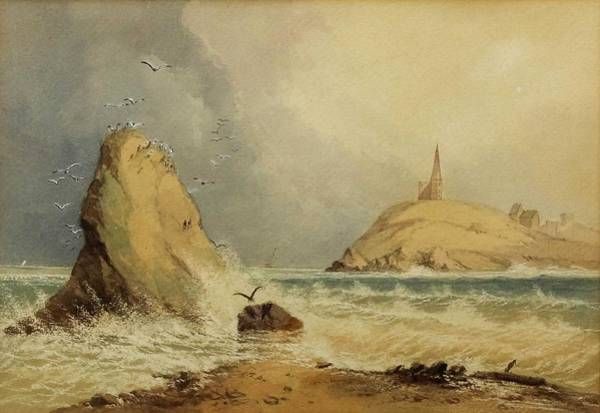 Wall Art - Painting - 9th Century British School - Watercolour - Seascape With A Church On A Rocky Peninsula And Rocky For by Celestial Images