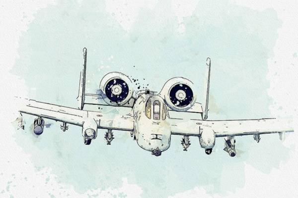 Wall Art - Painting - A-10 Thunderbolt II Flies Over The Baltic Sea, U.s. Air Force Watercolor By Ahmet Asar by Ahmet Asar