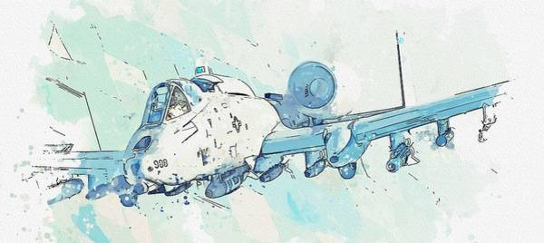 Wall Art - Painting - A-10 Thunderbolt II Watercolor By Ahmet Asar by Ahmet Asar