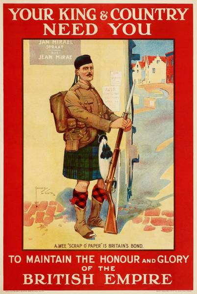 Wall Art - Painting - A 1914 Recruitment Poster Shows A Scottish Soldier In Belgium, In Response To Germany Describing The by Celestial Images